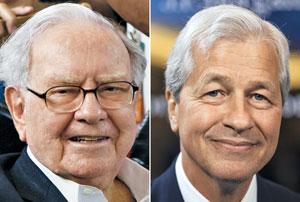 워런 버핏<왼쪽 사진> 버크셔해서웨이 회장과 제이미 다이먼<오른쪽 사진> JP모건체이스 회장