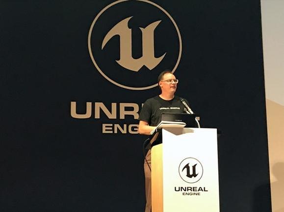팀 스위니 에픽게임즈 창업자 겸 CEO가 '언리얼 서밋 2018'에서 기조연설을 하고 있다. /이정민 기자