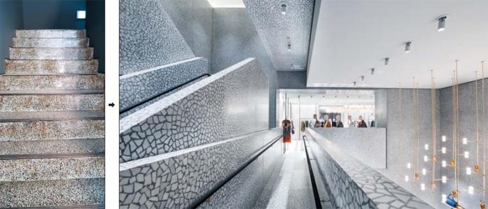 오래된 상가나 학교 바닥에 깔려있던 이것(왼쪽)을 사람들은 예전엔 '도끼다시'라고 불렀다. 이제는 '테라조'라고 부른다. 영국 건축가 데이비드 치퍼필드가 설계한 발렌티노의 미국 뉴욕 플래그십 스토어(오른쪽) 등에 테라조가 다시 쓰이며 주목받기 시작했다.