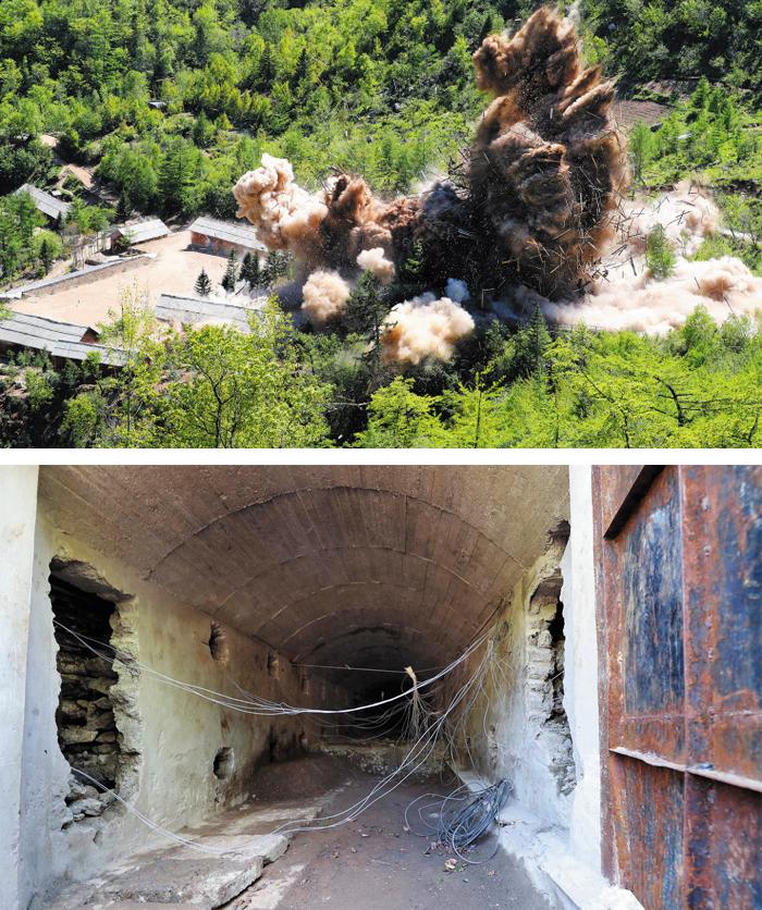 산산조각나는 핵실험장 시설물 - 24일 함경북도 길주군 풍계리 핵실험장의 시설물들이 폭파되는 순간 흙먼지가 솟아오르고 있다. 아래 사진은 폭파 전 3번(남쪽) 갱도의 내부 모습이다.