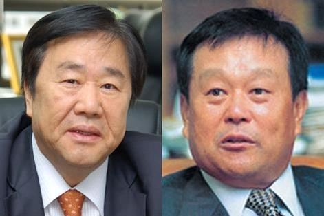 우오현 SM그룹 회장(왼쪽)과 박순석 신안그룹 회장 /조선일보DB