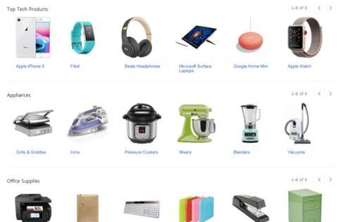 구글 쇼핑 베타 홈페이지의 모습. 카테고리별 인기 상품이 나열돼 있지만 실제로 쇼핑 검색 결과로 이어지는 기능 등은 아직 없다. /구글 사이트 캡처