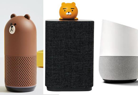 왼쪽부터 네이버의 프렌즈, 카카오의 카카오 미니, 구글의 구글 홈. AI 스피커 분야에서 중요한 쇼핑 기능 역시 경쟁이 심화될 전망이다. /각 사 제공