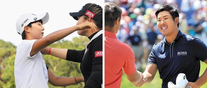 왼쪽 사진은 김효주가 우승을 차지한 쭈타누깐(태국)과 포옹하는 모습, 오른쪽 사진은 안병훈이 디섐보(미국)와 악수를 나누는 모습.