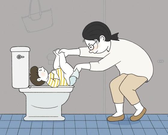 기저귀 교환대 없는 화장실, 아기 엄마의 '진땀'