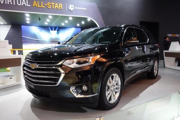 한국GM이 전시한 대형 SUV 트래버스. 트래버스는 현재 북미 시장 등에서 판매 중이다./진상훈 기자