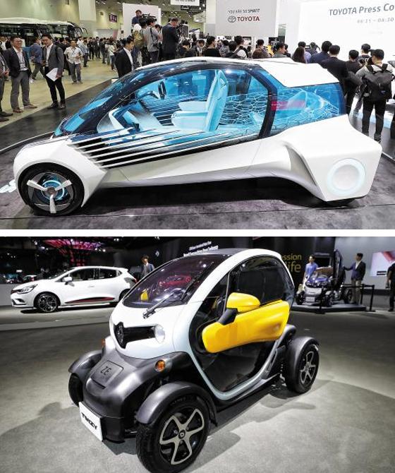 7일 부산 벡스코에서 열린 '부산국제모터쇼'에서 도요타는 미래형 수소연료전지차 콘셉트카인 'FCV 플러스'를 공개했다(위 사진). 르노삼성은 한 번 충전으로 55~80㎞를 갈 수 있는 초소형 전기차 '트위지'를 선보였다(아래 사진).