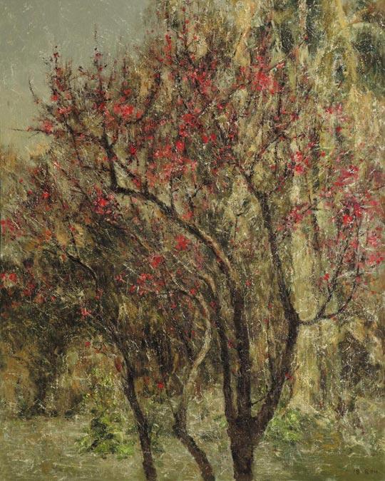 봄에 핀 홍매를 그린'춘색'.