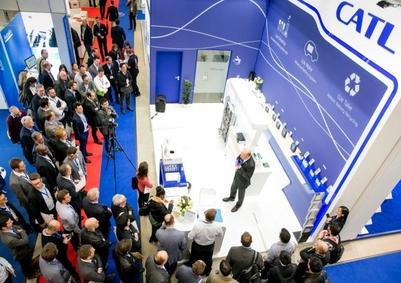 CATL이 해외 첫 공장을 독일에 세울 것으로 알려졌다. 독일 전시회에 출품한 모습. /CATL