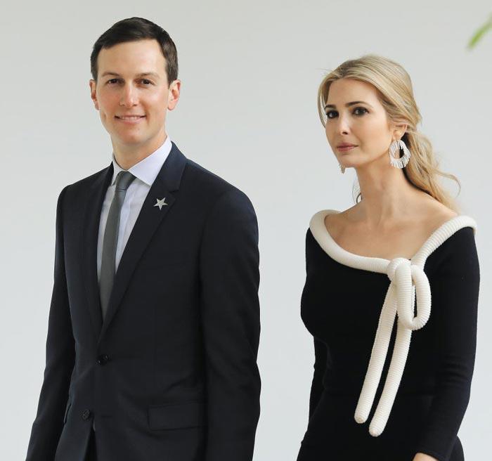 도널드 트럼프 미국 대통령의 맏딸 이방카(오른쪽)와 그의 남편 재러드 쿠슈너가 지난 4월 백악관에서 열린 프랑스 대통령 환영행사에 참석하기 위해 입장하고 있다.