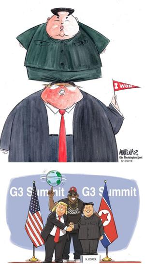 트럼프 올라탄 김정은 - 워싱턴포스트(WP)는 13일 '내가 이겼다'고 적힌 깃발을 든 도널드 트럼프 미 대통령의 머리 꼭대기에 김정은 북한 국무위원장이 올라선 것을 묘사한 만평을 게재했다(위 그림). WP는 트럼프, 김정은, 그리고 김정은의 친구로 알려진 미국 프로 농구 선수 데니스 로드먼이 한자리에 모여 '주요 3국(G3) 정상회담'을 했다는 내용을 담은 미국의 한 정치 전문지 만평도 소개했다(아래 그림). 트럼프가 6·12 미·북 정상회담 직전 참석한 G7(서방 선진 7국) 정상회담에서 동맹들을 비난한 뒤, 싱가포르에 가서는 김정은을 칭찬한 것을 풍자한 것이다.