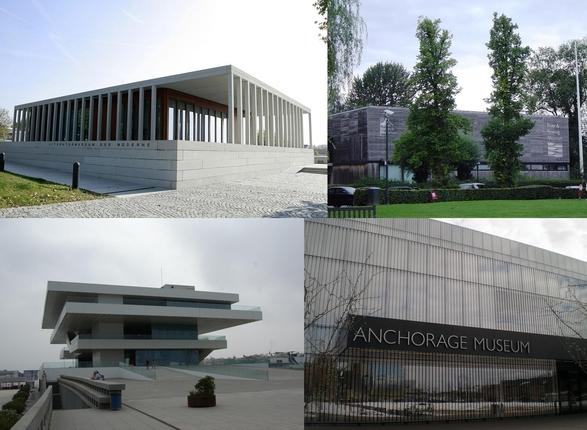 데이비드 치퍼필드가 설계한 건축물들. 왼쪽 위부터 시계방향으로 독일 현대문학박물관, 영국 조정박물관, 미국 앵커리지 박물관, 스페인 아메리카 컵 빌딩. /블룸버그DB·위키피디아