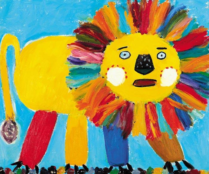 김부연의'사자'(2009)는 모든 사물을 단순화하고 마음 가는 대로 그렸던 어린 시절의 그림과 닮았다.