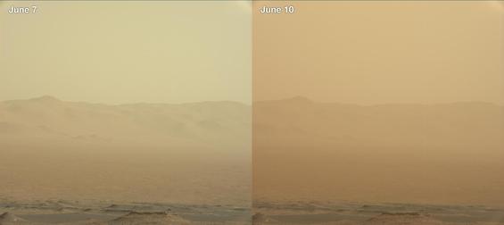 화성 탐사 로버 '큐리오시티'가 보내온 화성 이미지. 6월 7일(왼쪽)과 6월 10일(오른쪽) 보내온 이미지를 보면 모래 폭풍의 정도를 알 수 있다. /NASA 제공.