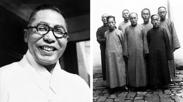 임정 국무위원들 - 중국에서 대한민국임시정부를 이끌다 1945년 광복을 맞은 조국으로 돌아온 백범 김구 선생(왼쪽 사진). 오른쪽은 백범 선생이 1935년 중국 자싱(嘉興)에서 임시정부 국무위원들과 함께 찍은 사진. 당시 임시정부 국무령이었던 백범은 60세였다. 뒷줄 왼쪽부터 시계 방향으로 송병조·김구·조성환·차리석·이시영·이동녕·조완구 선생.