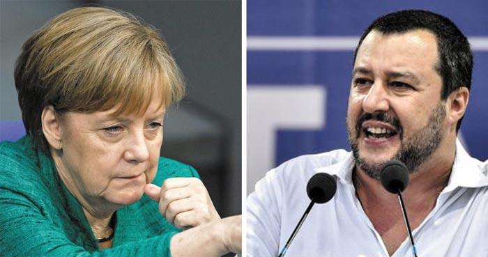 메르켈 독일 총리(왼쪽), 살비니 이탈리아 내무