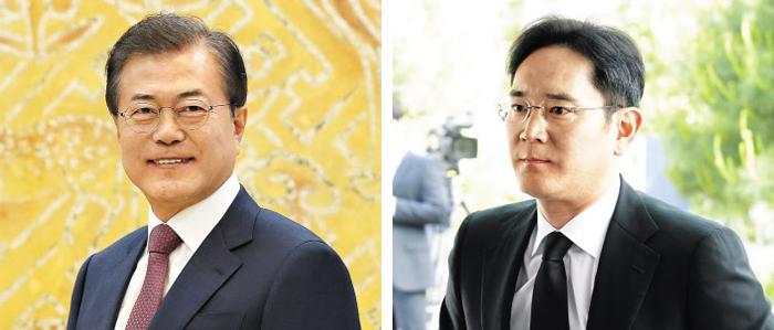 문재인(왼쪽) 대통령은 오는 9일 인도 삼성전자 스마트폰 공장 준공식에 참석키로 했다. 이재용(오른쪽) 삼성전자 부회장도 이 준공식에 참석해 문 대통령과 만날 예정이다.