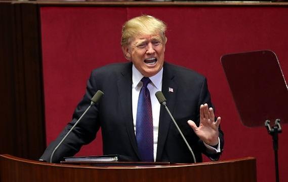지난해 11월 한국을 방문한 도널드 트럼프 미국 대통령이 국회 본의회장에서 연설하고 있다./이덕훈 기자