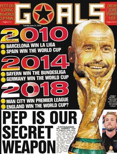 잉글랜드 팬들은 2010년, 2014년처럼 올해도 페프가 우승했던 리그의 소속 국가, 즉 잉글랜드가 월드컵에서 우승하기를 바란다.' 페프는 우리의 비밀병기'란 제목의 기사가 담긴 잉글랜드 매체 지면.