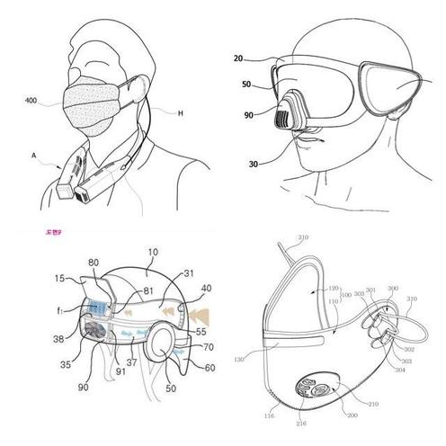 (좌측 상단부터 시계 반대방향)엔즈가 출원한 휴대용 에어블로워 특허, 개인 발명인이 출원한 미세먼지 차단용 고글 특허, 울산과학기술원(UNIST)가 출원한 헬멧형 웨어러블 공기청정기 특허, 네오메드가 출원한 배기밸브를 장착한 미세먼지 제거 마스크 특허./ 특허정보넷 키프리스