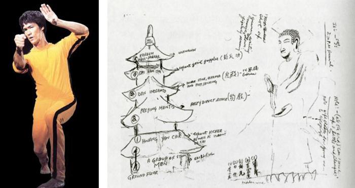 이소룡이 그린 법주사 팔상전(위 그림 왼쪽)과 미륵대불의 스케치. 왼쪽 사진은 영화 '사망유희'에 '노랑 추리닝'을 입고 나온 이소룡.