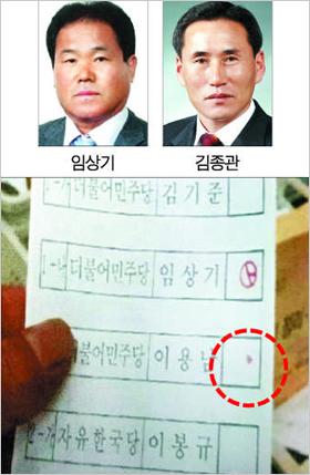 무표효로 처리됐던 충남 청양군 가선거구 군의원 선거의 투표용지. 임상기 후보를 기표한 아랫부분에 빨간 점이 찍혀 있다.