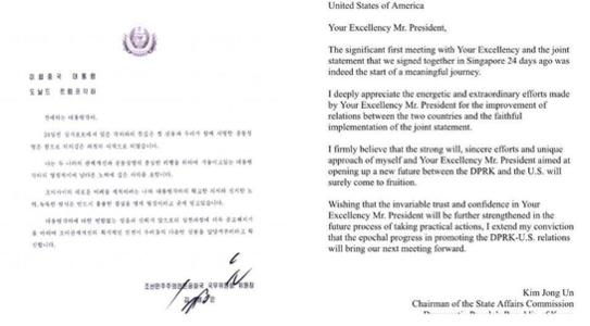 도널드 트럼프 미국 대통령이 2018년 7월 12일(현지시각) 공개한 김정은 북한 국무위원장의 친서 한글본과 영문본. /트럼프 트위터 캡처