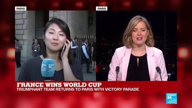 [France 24] Fans wait for French players at Hotel de Crillon