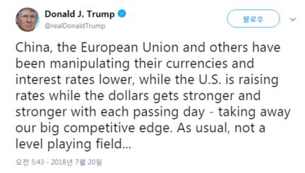 도널드 트럼프 대통령이 연 이틀 중국의 환율조작을 비난하는 발언을 이어가면서 환율전쟁 우려가 고조되고 있다. /트위터