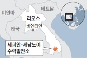라오스 수력발전소 위치 지도