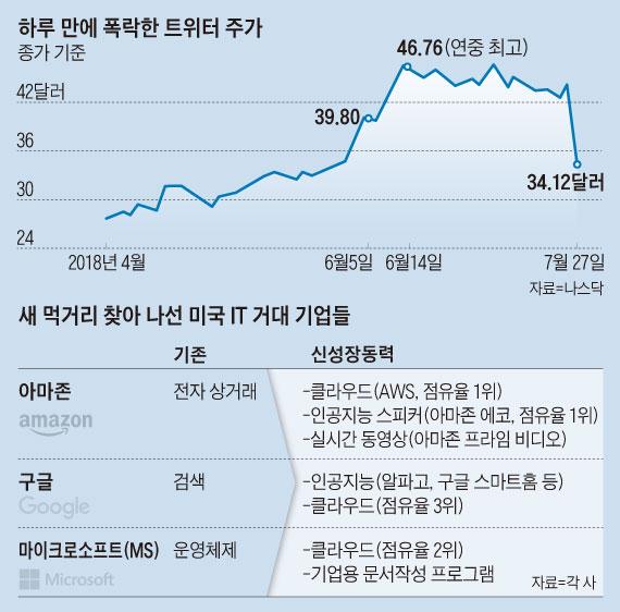 하루 만에 폭락한 트위터 주가 그래프