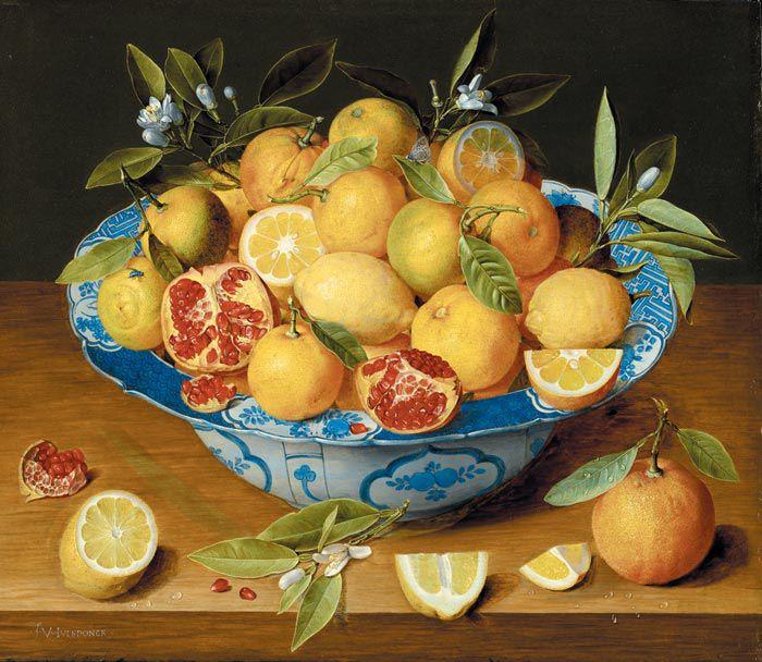 야콥 판휠스동크, 레몬, 오렌지, 석류가 있는 정물화, 1620~40년경, 목판에 유채, 41.9×49.5㎝, 로스앤젤레스, J. 폴 게티 미술관 소장.
