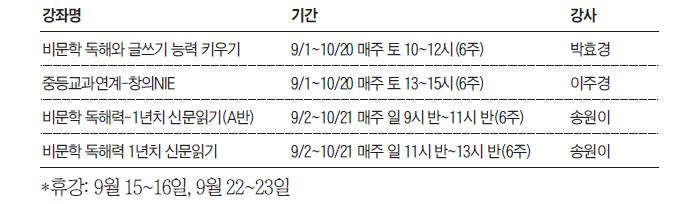 중학생 NIE 9월 수강표