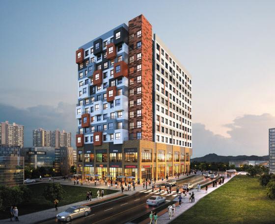 서울 송파구 위례신도시에 들어서는 '더케렌시아300'의 완공 후 예상도. 중문(重門)을 이용해 두 개의 분리된 공간으로 활용할 수 있는 '1.5룸형' 오피스텔이 주력 상품이다.