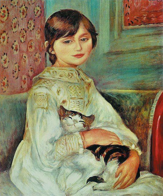 피에르 오귀스트 르누아르, 고양이를 안은 줄리 마네, 1887년, 캔버스에 유채, 65×54cm, 파리 오르세 미술관 소장.