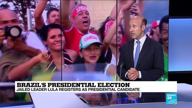 [France 24] Brazil''s jailed former leader Lula registers as presidential candidate