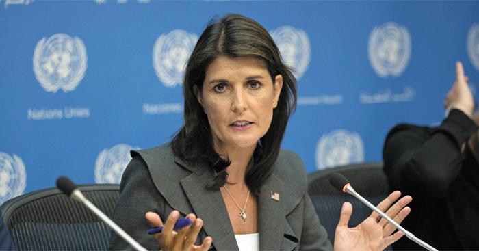 니키 헤일리 유엔 주재 미국 대사가 4일(현지 시각) 미국 뉴욕 유엔본부에서 기자회견을 열고 대북 관련 발언을 하고 있다.