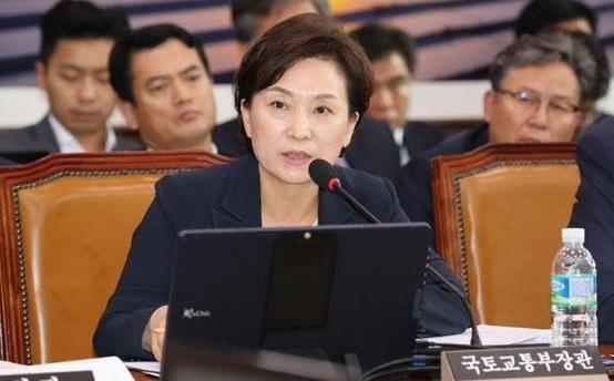 지난달 21일 김현미 국토교통부 장관이 국회 국토교통위원회 전체회의에 출석해 답변하고 있다. /이덕훈 기자