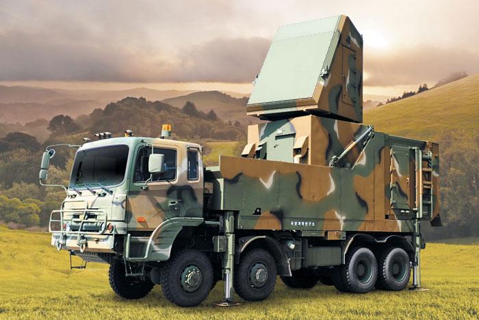 한화시스템의 '천궁' 미사일용 위상배열 레이더.