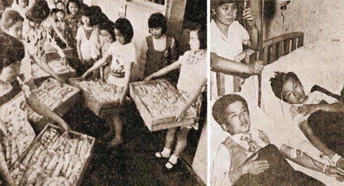 1977년 초등학교 어린이들이 오전에 도착한 급식 빵을 교실로 나르는 모습.