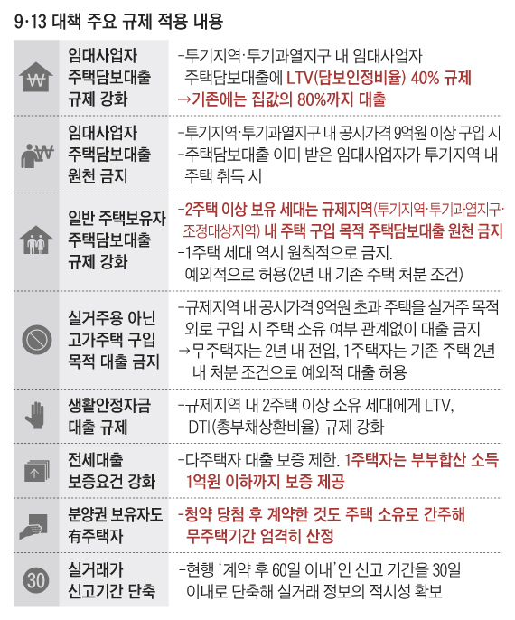 9·13 대책 주요 규제 적용 내용 정리 표