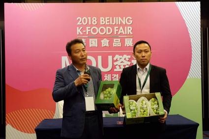 경북 상주에 있는 산떼루아영농종합법인이 13일 베이징에서 열린 K푸드페어에서 200만달러 샤인머스캣 포도 수출 계약을 체결했다. /aT 제공