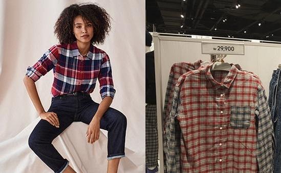 (왼쪽부터) 디자인은 다르지만, 가격이 2만9900원으로 동일한 유니클로 체크무늬 셔츠와 GU 체크무늬 셔츠.