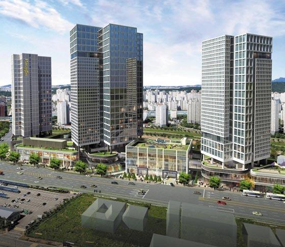 다음 달 경기도 남양주 별내신도시에서 분양되는 복합 단지'별내역 파라곤'의 완공 후 예상 모습.