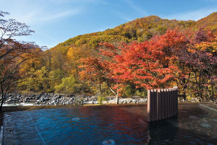 아오모리의 오이라세계류 온천에서 즐길 수 있는 아름다운 풍광.