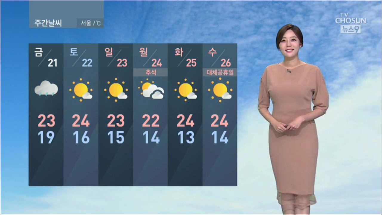 [날씨] 전국 곳곳 비, 중부·경남 최고 60㎜…낮엔 '선선'