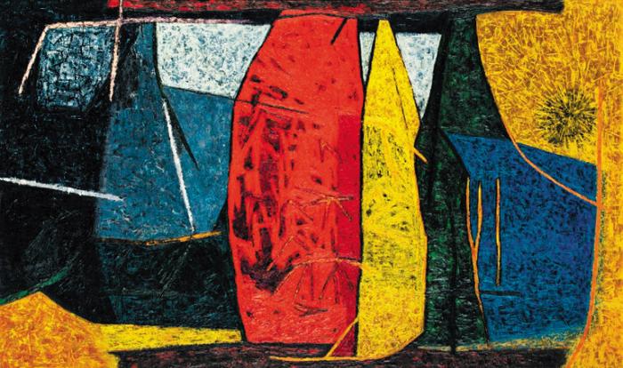 19일 6억원에 낙찰된 유영국의 'Work'(97×162.2㎝).