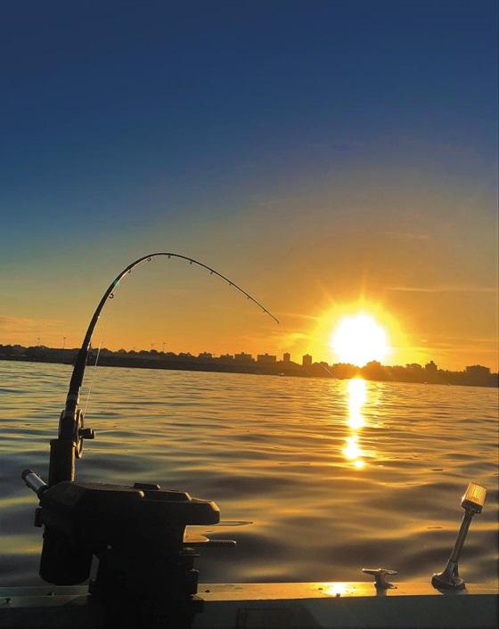 빅토리아 시내가 보이는 바다에서 연어를 만나기 위해 배를 띄웠다. 낚싯대 너머로 연어 알처럼 둥근 해가 떠오른다.