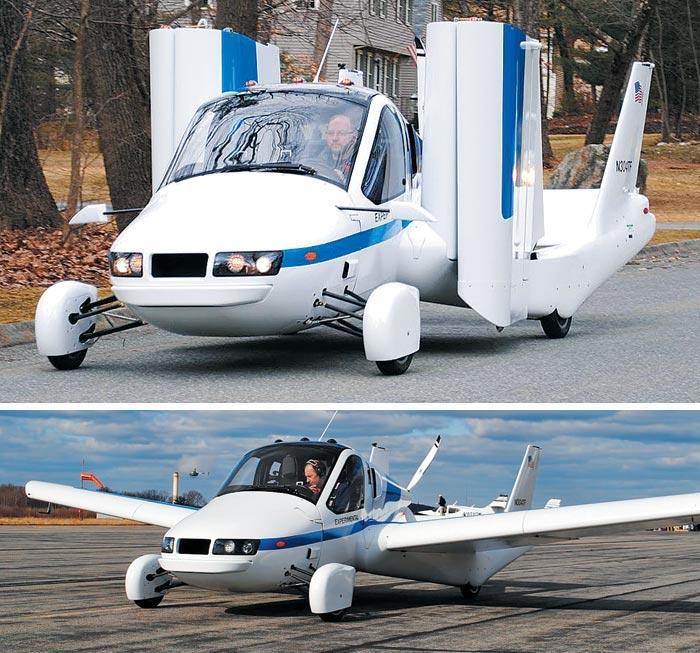플라잉카 '트랜지션'이 도로 위에서 양 날개를 접은 모습(위)과 활주로에서 날개를 편 모습(아래).
