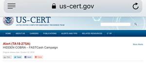 미국 국토안보부 산하 컴퓨터긴급대응팀(CERT) 홈페이지에 2일(현지 시각)부터 게시된 북한 해킹 조직 '히든 코브라'에 대한 경보 문서.